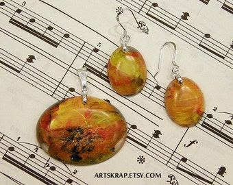 Hot Toddy, Pendant and Earring Set, Made from Recycled Paint, Fashion, Jewelry, Colorful and Fun, Very Unique, Artskrap, Gift for Her, Art,