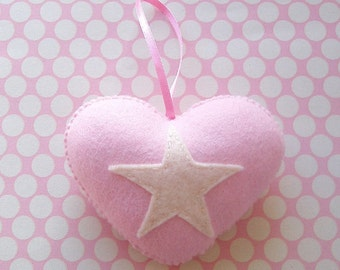 SUPER CUTE PROMO : Baby Pink Love Heart with Cream Star