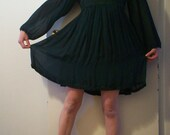 Sale vintage forest green empire baby doll dress