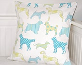 dogs cushion cover 16 inch, teal pale yellow turquoise pillow cover