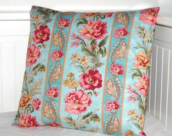 teal blue pink cushion cover,  pink flowers vintage style decorative pillow cover 16 inch