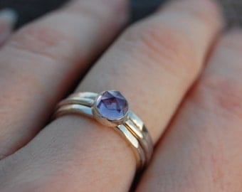 Rose cut amethyst stack