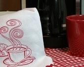 Coffee Break  - Embroidered Cotton Kitchen Towel - Red