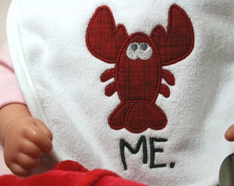 Whimsical Baby Maine Lobster - Terry Cloth Bib - Choice of Colors