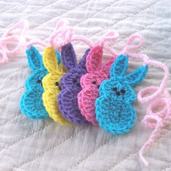 Crochet Marshmallow Peeps Garland Easter Bunny Crochet