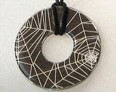 Spooky Spiderweb Gothic Washer Hardware Pendant Necklace Upcycled Papers