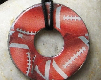 FOOTBALL Collage Washer Pendant Hardware Necklace Upcycled Papers Game Day Wear