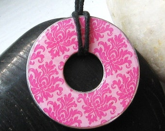 Pretty in Pink Damask Washer Hardware Pendant Necklace Upcycled Paper
