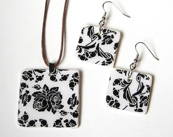 SALE SET Lovely Black Roses and White Wood Tile Pendant Necklace and Earrings