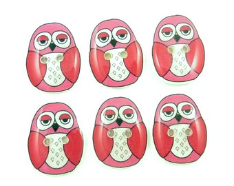 "Pink Owl Buttons. Decorative Craft Buttons. 6 resin sewing buttons. 3/4"" or 20 mm Tall."