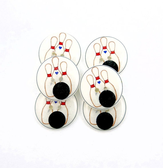Handmade Buttons. 6 Bowling Themed Sewing Buttons.  Needlecraft or knitting supplies.