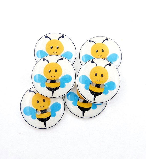 Handmade Buttons Bee Buttons.  6 Handmade Buttons for Sewing.