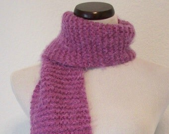 Purple Scarf  / Soft Fuzzy Orchid Hand Knit