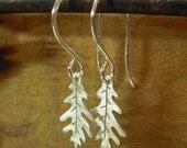 Leaf earrings, TINY sterling silver leaf earrings, hand-cut sterling silver oak leaf earrings.