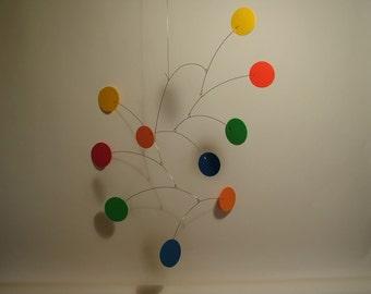 Modern Circle Fun Art Mobile for Kids Play Room Primo II Calder style Kinetic Home Decor