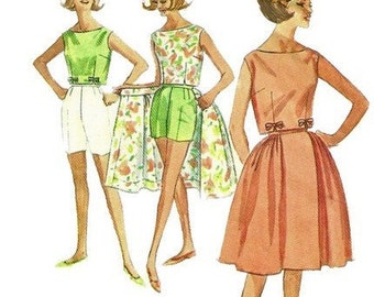 1960s Simplicity 4489 Simple to Make Misses Wrap Around Skirt Top Jamaica Shorts Pattern Womens Vintage Sewing Pattern Size 14 Bust 34 Uncut