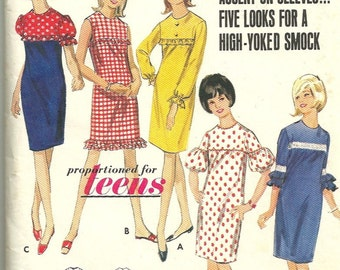 1960s Butterick 4136  Teen High Yoked Smock Dress Pattern Jewel Neckline  Womens Vintage Sewing Pattern Size 14 Bust 34