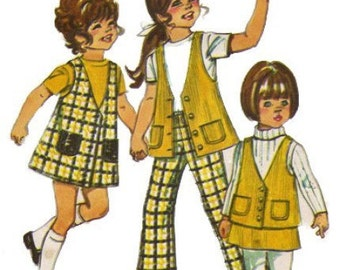 1970s Simplicity 9476 Childs Jumper Vest Skirt Bell Bottom Pants Pattern Girls Vintage Sewing Pattern Size 6 Breast 24