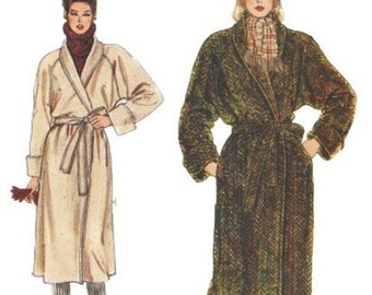 1980s Vogue 8439 Misses Shawl Collar Wrap Coat Pattern Womens Vintage Sewing Pattern Size 10 Bust 32 UNCUT