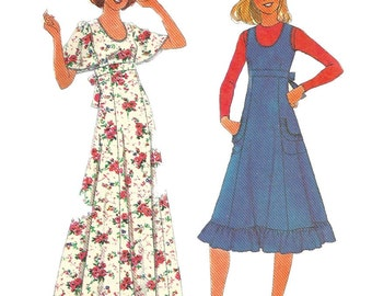 Simplicity 8026 1970s Misses Dress or Jumper Pattern Empire Waist and U Neckline Womens Vintage Sewing Pattern Size 10 Bust 32 UNCUT