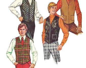 McCalls 3021 1970s Mens Lined Vest Pattern Set of Vests Button or Zip Front Mans Vintage Sewing Pattern Size Medium  Chest 38 - 40