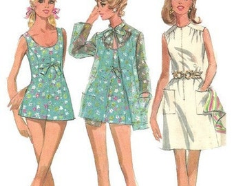 McCalls 9786 1960s Half Size Skirted Swimsuit Swim Shorts Cover Up and Beach Dress Pattern Womens Vintage Sewing Pattern Size 16 1/2 Bust 39