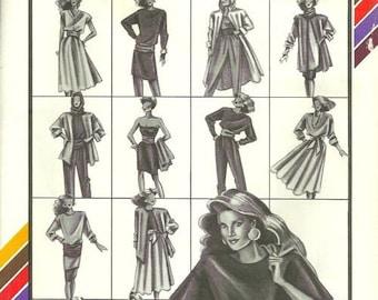 Stretch & Sew 100 1980s Compo Knits Misses Dress Skirt Top Pants Jumpsuit Belt Womens Vintage Sewing Pattern Size P S M L Bust 30 - 42 UNCUT