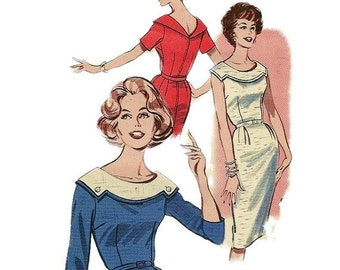 Butterick 9328 1960s Misses  Fitted Sheath Dress Pattern with Wide Collar Womens Vintage Sewing Pattern Size 14 Bust 34