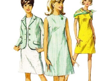 Simplicity 7641 1960s Misses Jacket and A Line Dress Pattern Womens Vintage Sewing Pattern Size 8 Bust 31