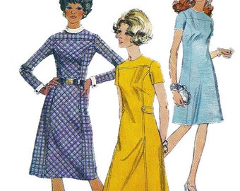 Simplicity 9059  1970s Misses  Princess Seam Dress Pattern Womens Vintage Sewing Pattern Size 10 Bust 32