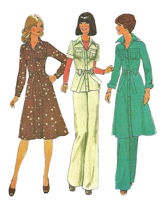 Simplicity 7649 1970s Misses SAFARI Dress Top and Pants Pattern Womens Vintage Sewing Pattern Size 8 Bust 31 1/2