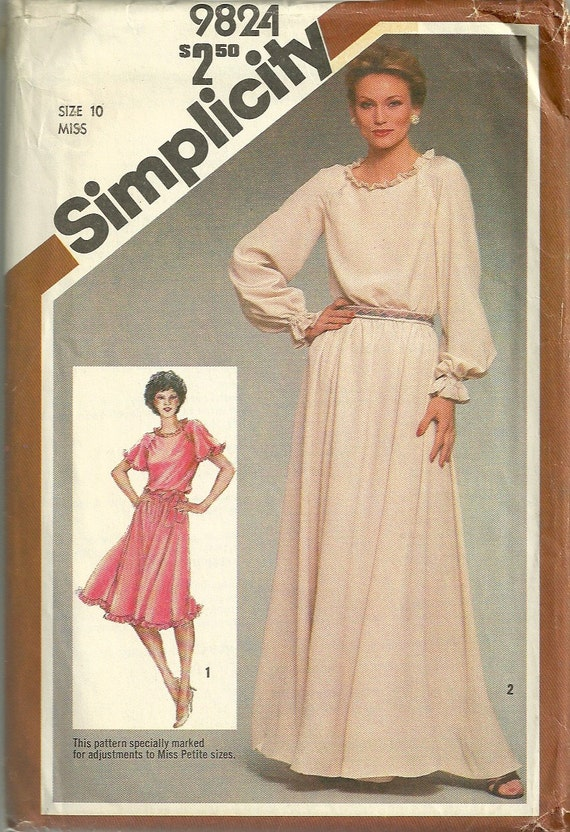 Simplicity 9824 1980s Misses Evening Cocktai Dress Pattern Two
