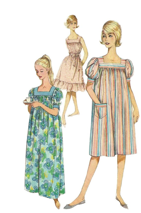 Simplicity 3902 1960s Misses Easy Square Neckline Muu Muu Pattern Pullover Dress Womens Vintage Sewing Pattern Size Small Bust 31 - 32