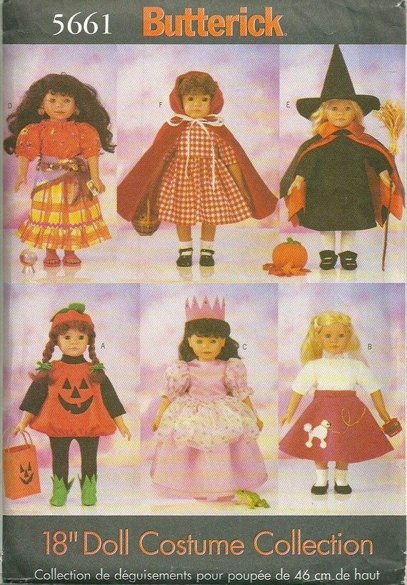 Butterick 5661 Doll Clothes Pattern Costume Pattern 18 Inch Doll Gypsy Riding Hood Witch Pumpkin Princess Poodle Skirt Sewing Pattern UNCUT