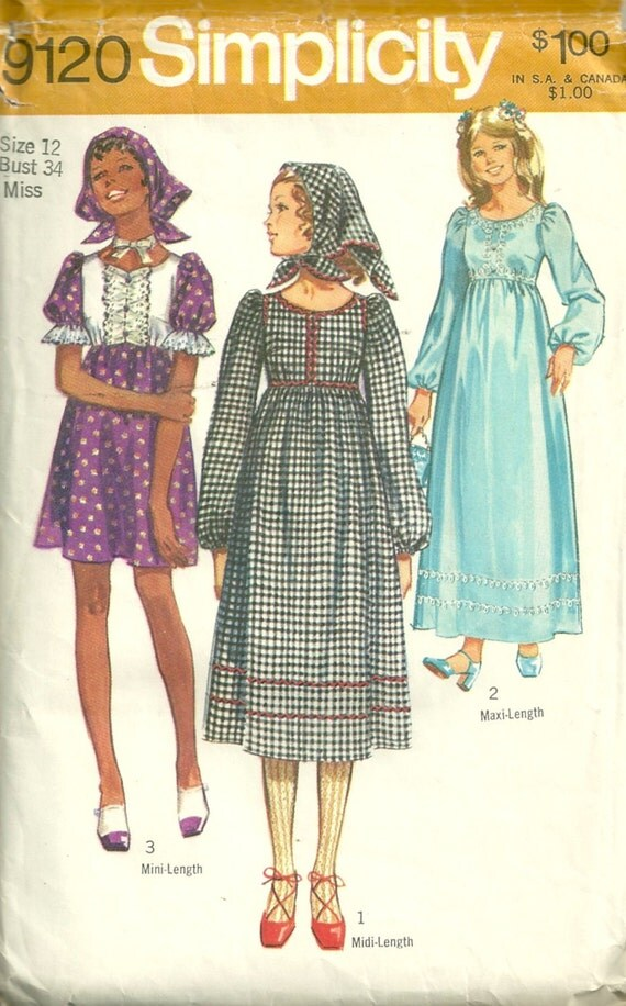 1970s Simplicity 9120 Peasant Dress and Scarf Pattern Mini Midi Maxi  Empire Waist Womens Vintage Sewing Pattern Size 12 Bust 34