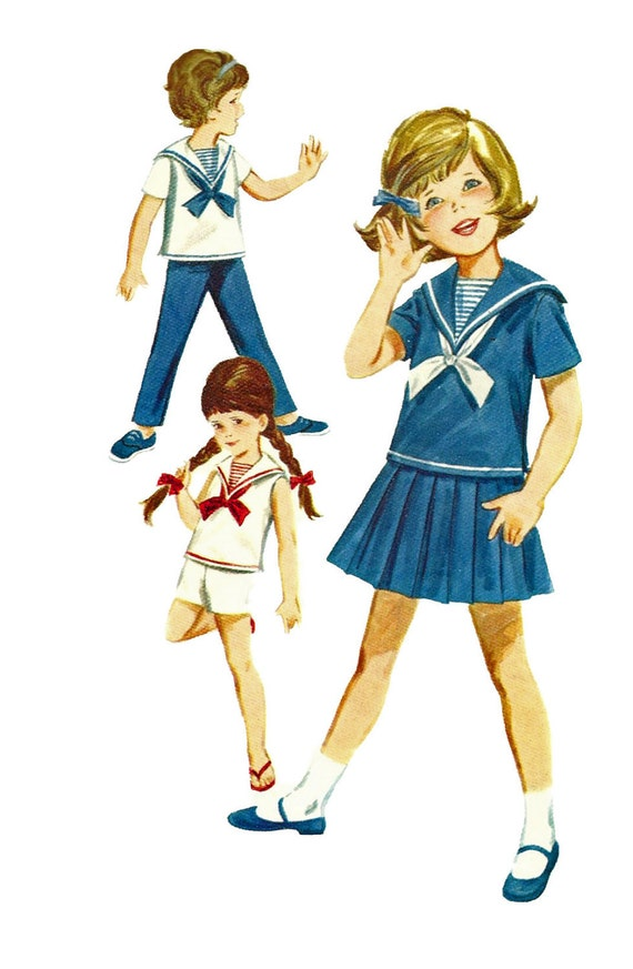 1960s Butterick 2760 Toddlers Nautical Blouse Skirt Pants and Shorts Pattern Girls Vintage Sewing Pattern  Size 4 Breast 23