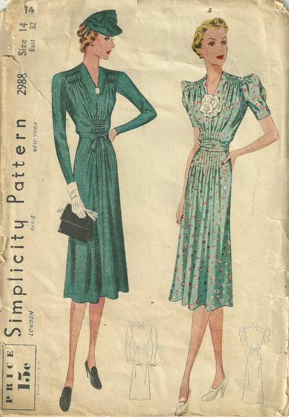Simplicity 2988 1930s V Neck Dress Pattern Vertical Emphasis
