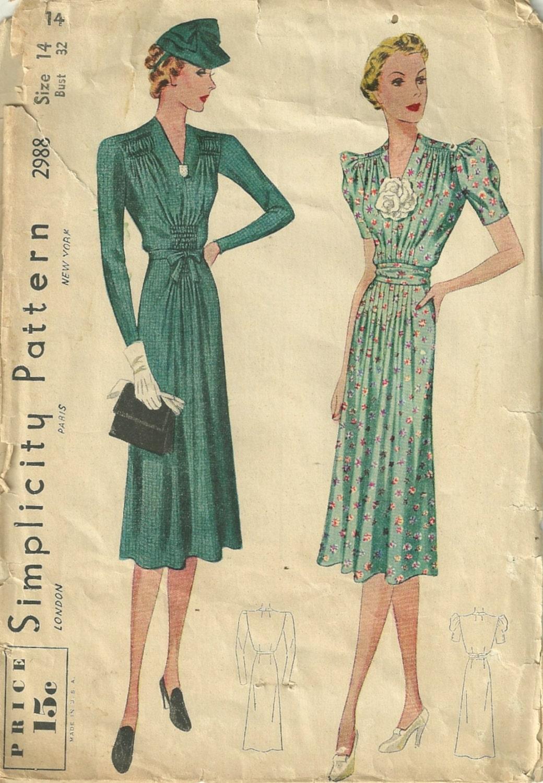 Simplicity 2988 1930s V Neck Dress Pattern Vertical Emphasis