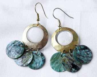 Gold, green and white disc earrings