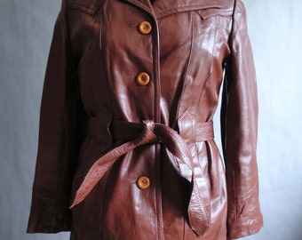 Vintage Burgundy Leather Jacket / Oxblood Leather Jacket / size S / size M