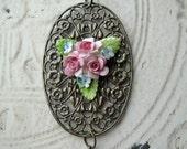 Chic Antique Bone China Necklace Ornate Brass Filigree pink roses blue verdi gris England shabby