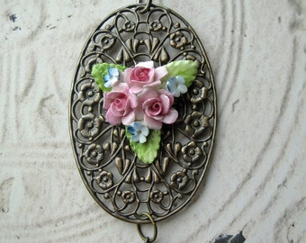 Chic Antique Bone China Necklace Ornate Brass Filigree pink roses blue verdi gris England shabby