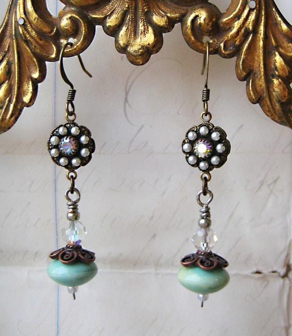 Art Nouveau Antique Earrings Handmade turquoise ceramic beads vintage rhinestone pearl bracelet