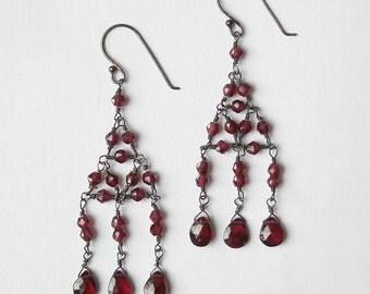 Garnet Chandelier Earrings -  Oxidized Sterling Silver - Red Gemstone - January Birthstone - Bead Work