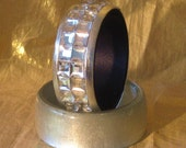 Silver Rhinestone Bangle Bracelet Cuff 1/2 off Sale