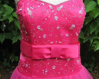 Princess Gown Hot Pink Tulle Rhinestone Studded