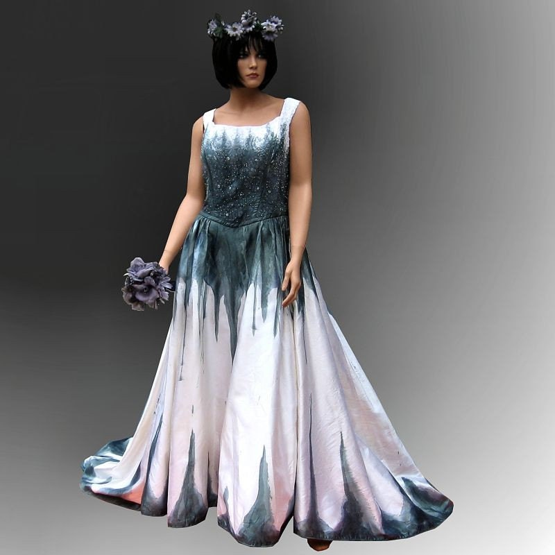 Gothic wedding gown hand painted corpse by thebohemiangoddess for Painted on wedding dress