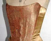 SALE gold lace petal corset, boned with lace-up back