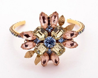 Corsage style Swarovski Crystal Rhinestone Bracelet  Hollycraft and Juliana Inspired - Pink yellow and blue
