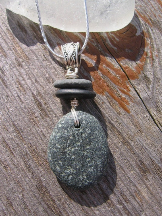 One of a Kind Stacked Lake Superior Zen Stone Pendant Necklace